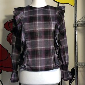 Rue21 Ladies SZ XS Plaid Ruffle Flannel Top Blouse